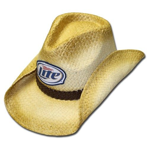 Miller Lite Straw Cowboy Hat! This is a straw cowboy hat with a leather  band wrapped around the base of the hat. 656aeee363e