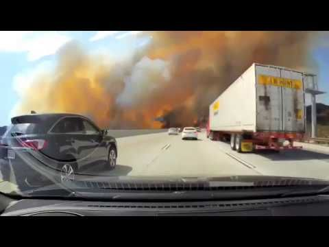 Watch As People Drive Right Through Los Angeles Brush Fires Youtube Brush Fire Fire Weather Watch