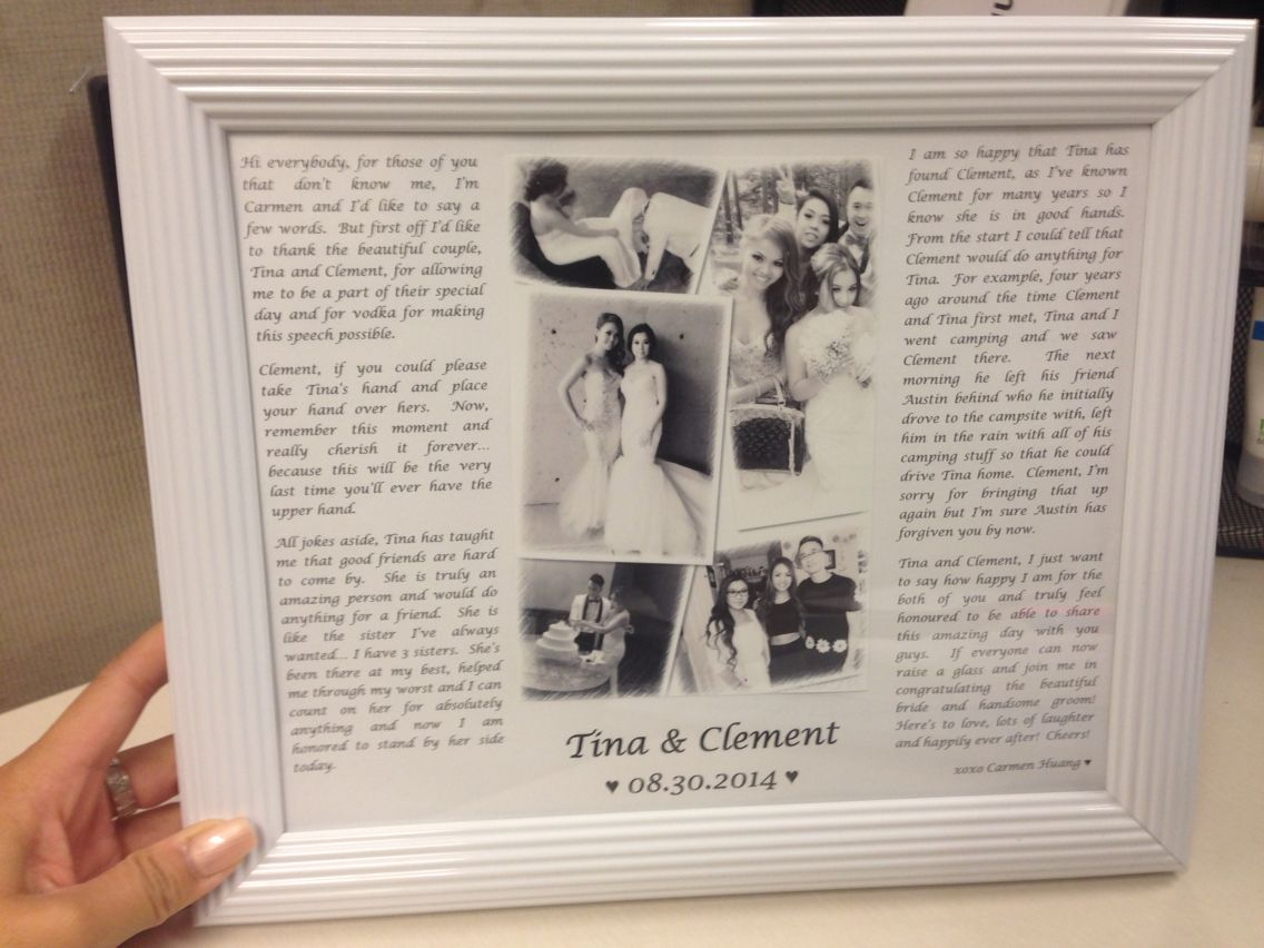 I Was A Bridesmaid And Put My Speech From The Wedding In Photo Frame Makes Thoughtful Cute Gift
