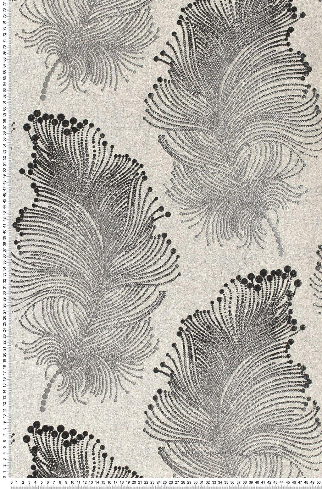 Papier peint Plumes et perles noire - Papier peint Charleston de ...
