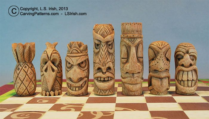free tiki craft tiki chess set beginner s wood carving project by