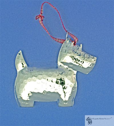 Puffy Metal Scottie Ornament Scottie Scottie Dog Santa Paws