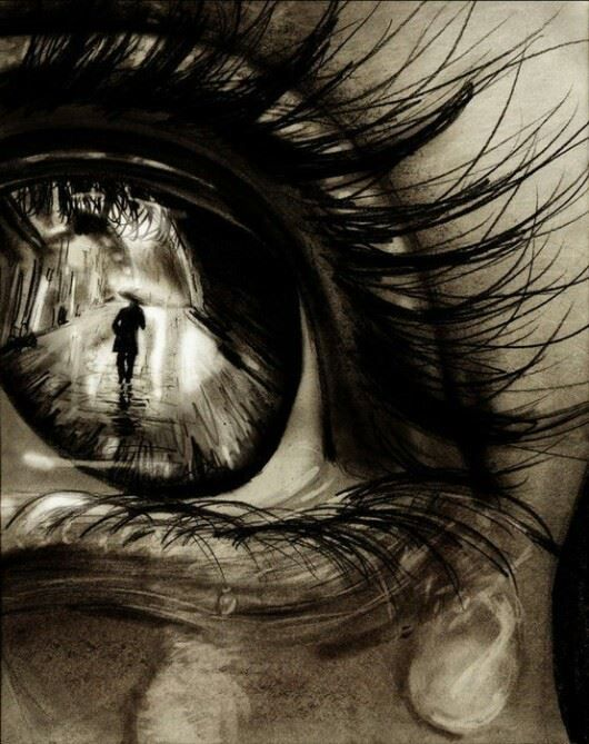 reflection in an eye ~ charcoal drawing