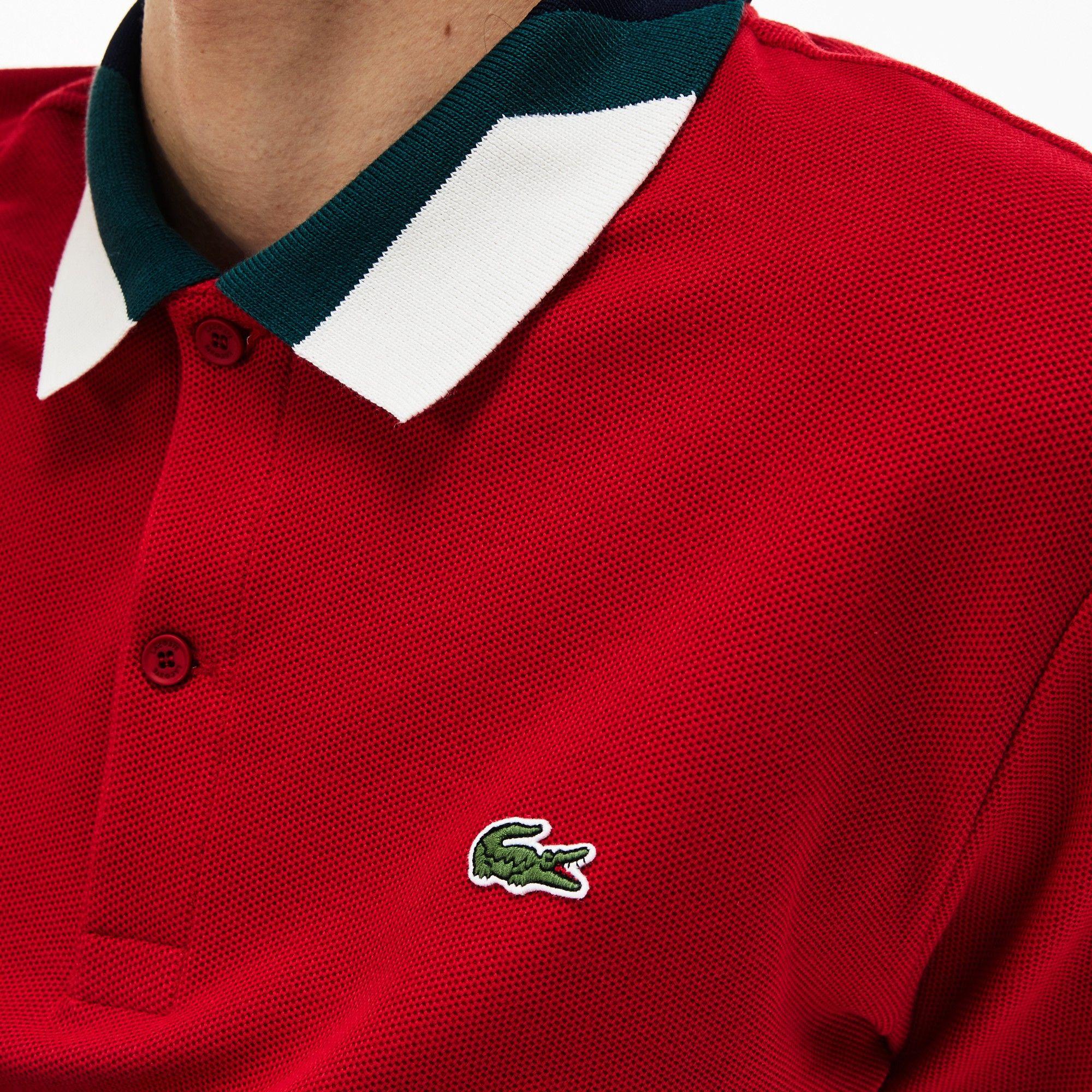 a2aa065375 Lacoste Men's Slim Fit Colorblock Striped Knop Piqué Polo Shirt ...