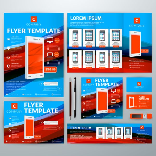 free eps file electronic product flyer template vector 01 download