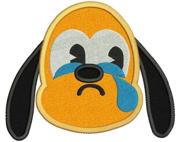 Emoji Pluto Crying Disney Applique Embroidery Design Applique