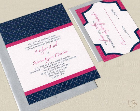 Pink And Navy Wedding Invitation Sample Set Fuchsia Blue Modern Geometric