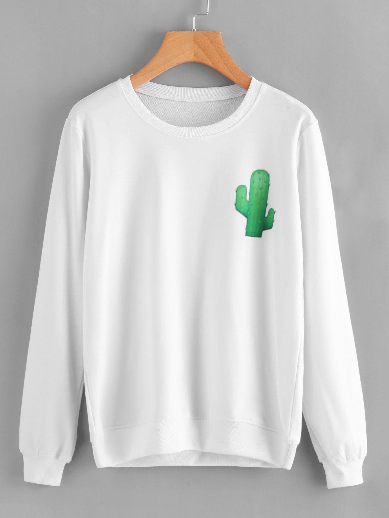 7faee6c3af Shop Cactus Print Sweatshirt online. SheIn offers Cactus Print Sweatshirt    more to fit your fashionable needs.