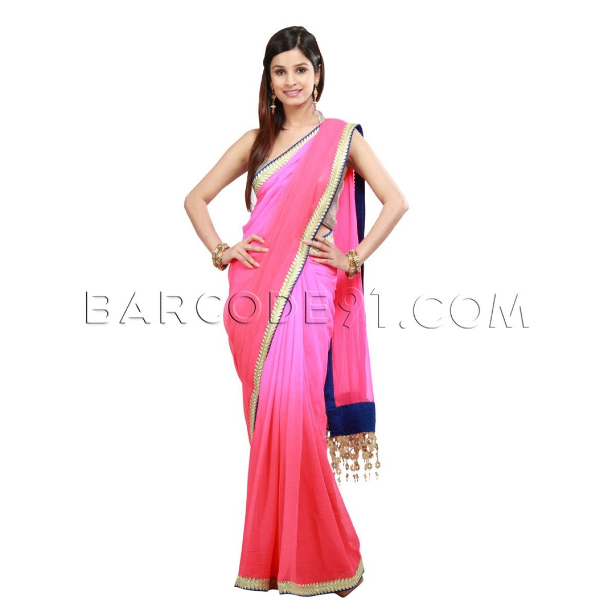shaded pink red chiffon saree is with antique borderit comes