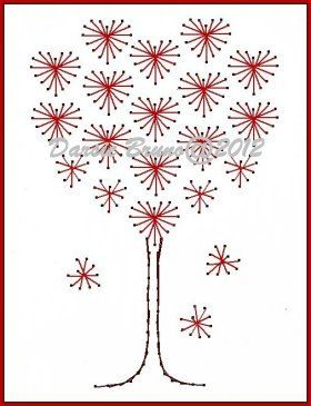 Valentine Heart Love Tree Embroidery Pattern for by Darse on Etsy
