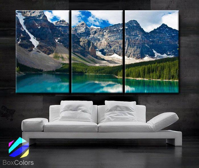 Large 30 X 60 3 Panels Art Canvas Print Beautiful Rocky Mountain Nature Wall Home Decor Interior Included Framed 1 5 Depth Cheap Canvas Wall Art Canvas Wall Art Set Canvas Art Prints