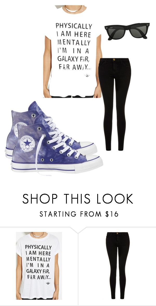 """So I'll be over here"" by tvd-teenwolf-lovez ❤ liked on Polyvore featuring beauty, Forever 21, Current/Elliott, Ray-Ban and Converse"