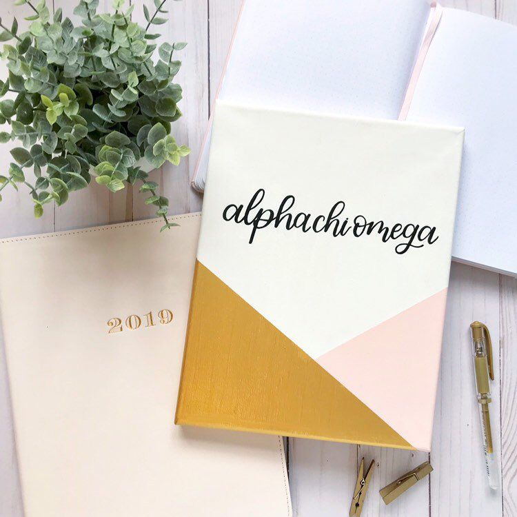 Excited to share this item from my #etsy shop: Customizable Sorority Canvas, Gold and Pink Color Block with Black Hand Lettering, Customizable sorority letters, 8x10 in. Canvas #biglittlecanvas