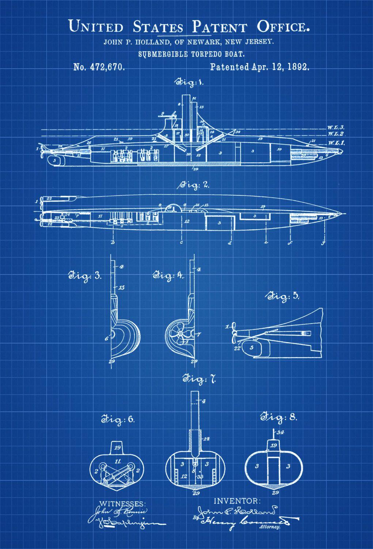 Submarine Patent Print - Vintage Submarine, Submarine Blueprint ...