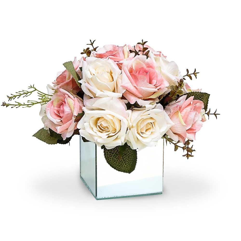 Arranjo De Flores Artificiais Rosas Mistas Vaso Espelhado Pequeno