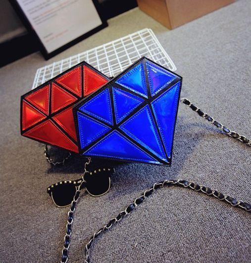 Summer  Fashionable Laser Shining Diamond Handbag Chain Inclined Shoulder Bag