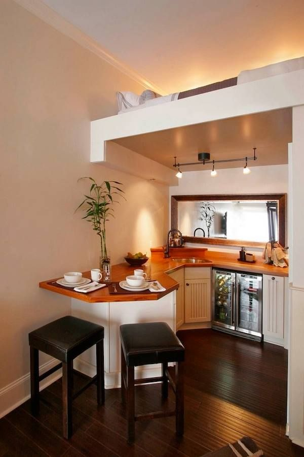 Tiny House Talk Beautiful Small Kitchen with Upstairs Sleeping Loft (picture only).