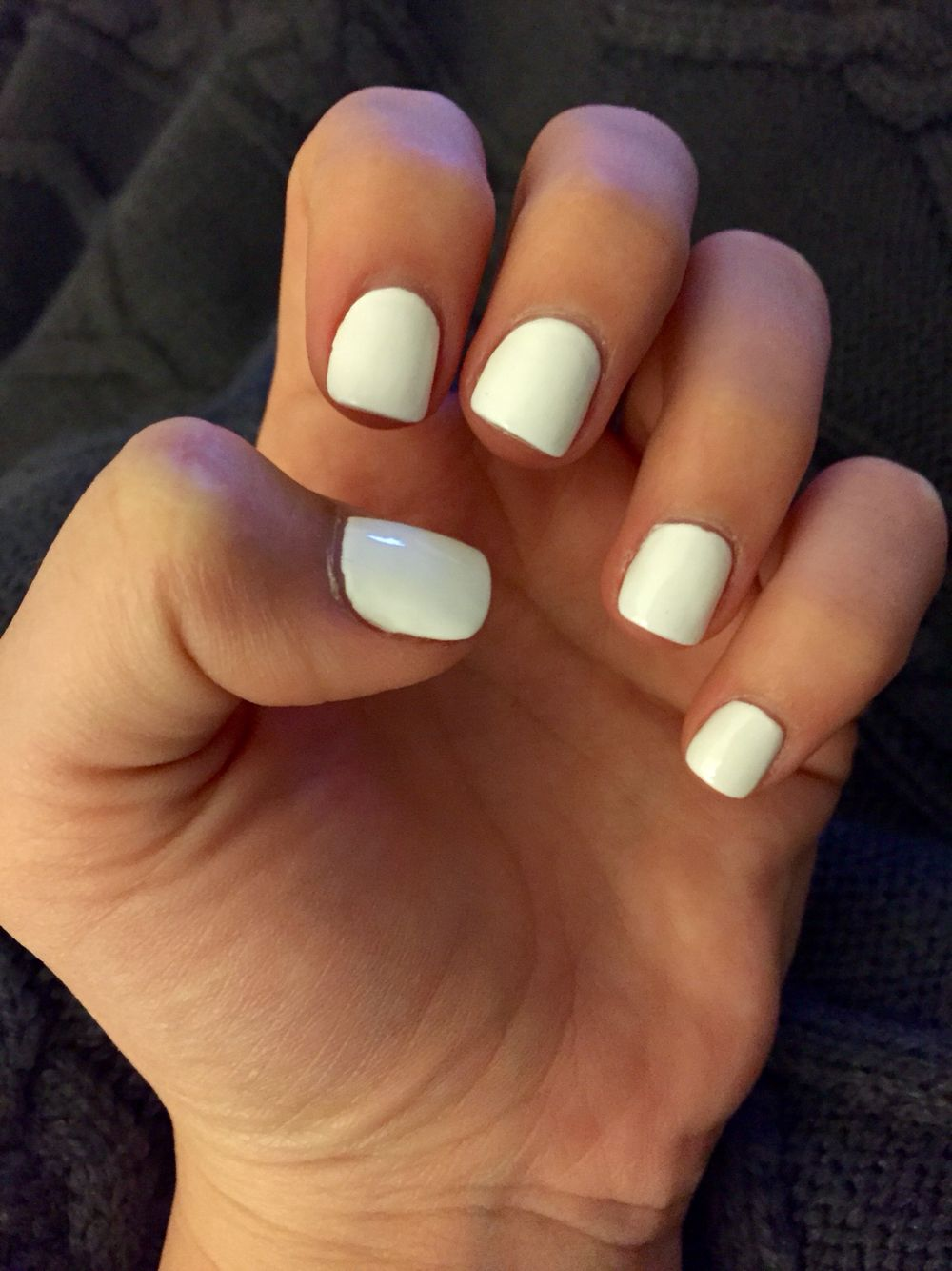 White acrylic short cute nails