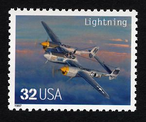"32c Lockheed P-38 ""Lightning"" single Scott Catalogue USA: 3142n Description: mint  Date: July 19, 1997 Medium: paper; ink (multicolored); adhesive / photogravure Museum ID: 1998.2008.575 Place: UNITED STATES OF AMERICA"