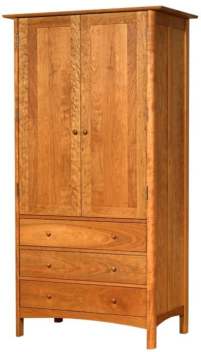 Modern Shaker Tall Armoire Handcrafted In Vermont Using Sustainably Harvested Wood Customize This Piece S Edge Profile Height And With The Choice