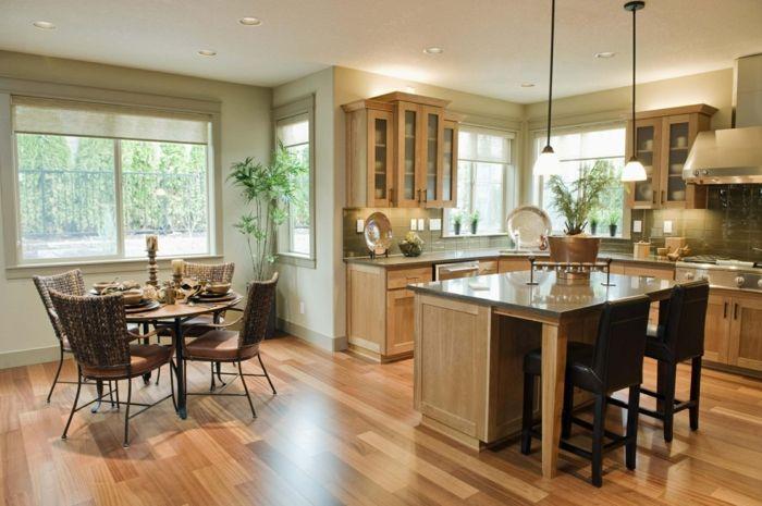 offene küche mit stilvollem bodenbelag und deckenbeleuchtung - bilder offene küche