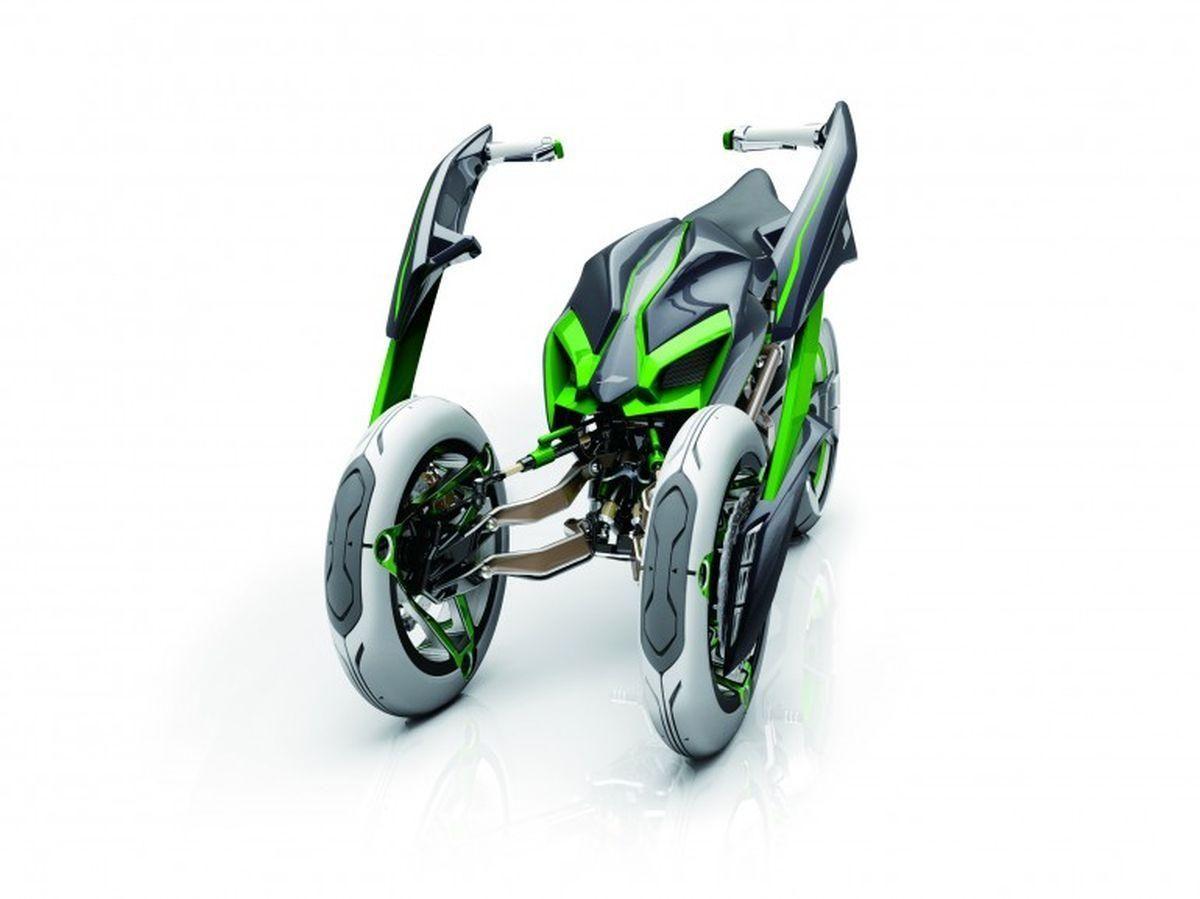 """Was Kawasaki mit dem Elektro-Dreirad """"J Concept"""" bezweckt, ist eindeutig: Aufsehen erregen. Und der Plan geht voll auf, immerhin ist das Konzept cool, mutet wie aus einem Science-Fiction-Film an und zieht die Blicke auf sich. Wer jedoch erwartet, dass das futuristische Ding so auf den Markt kommt, ist ein Träumer."""