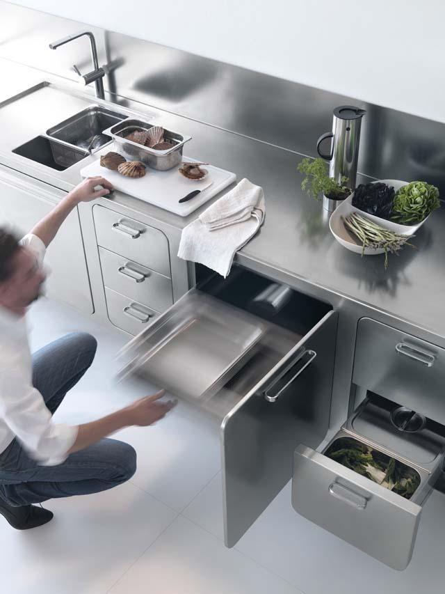 Edelstahl Küche Abimis Prisma Stauraum Arbeitsplatte Schubladen ... Design Edelstahl Kuchen