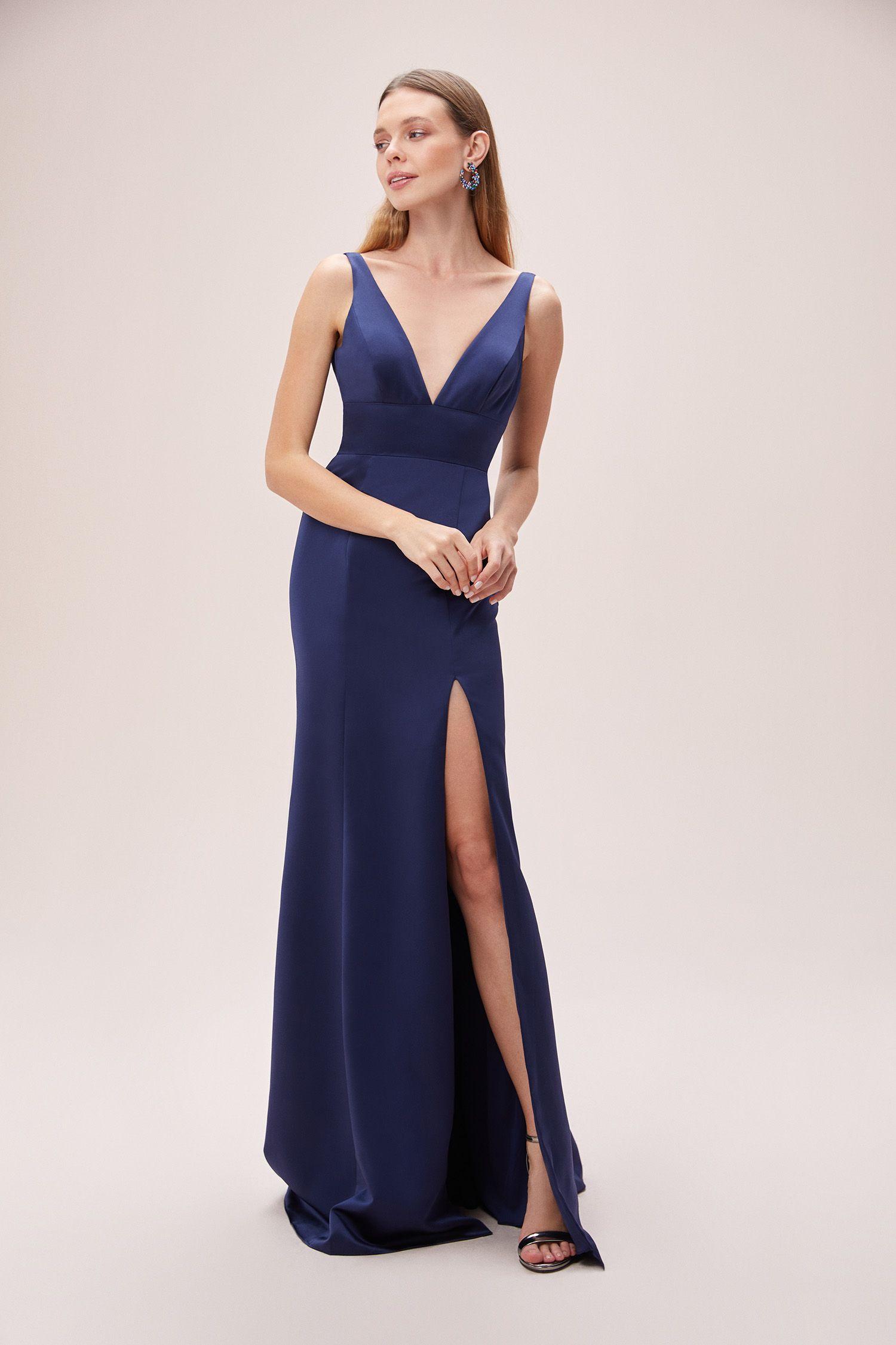 Lacivert Askili V Yaka Yirtmacli Saten Abiye Elbise Oleg Cassini 2020 The Dress Elbise Balo Elbisesi