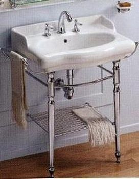 Magica Line Of Bathroom Pedestal Sinks. Pictured Here With Legs And Metal  Shelf, A Variety Of Choices Are Available In Pedestals, Faucet Settings, ...
