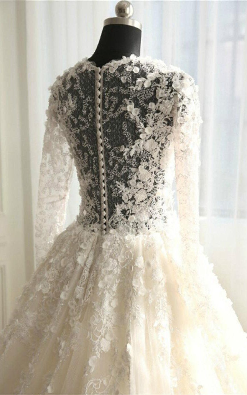 Long Sleeve Illusion Bodice Tulle Ball Gown Wedding Dress with Lace