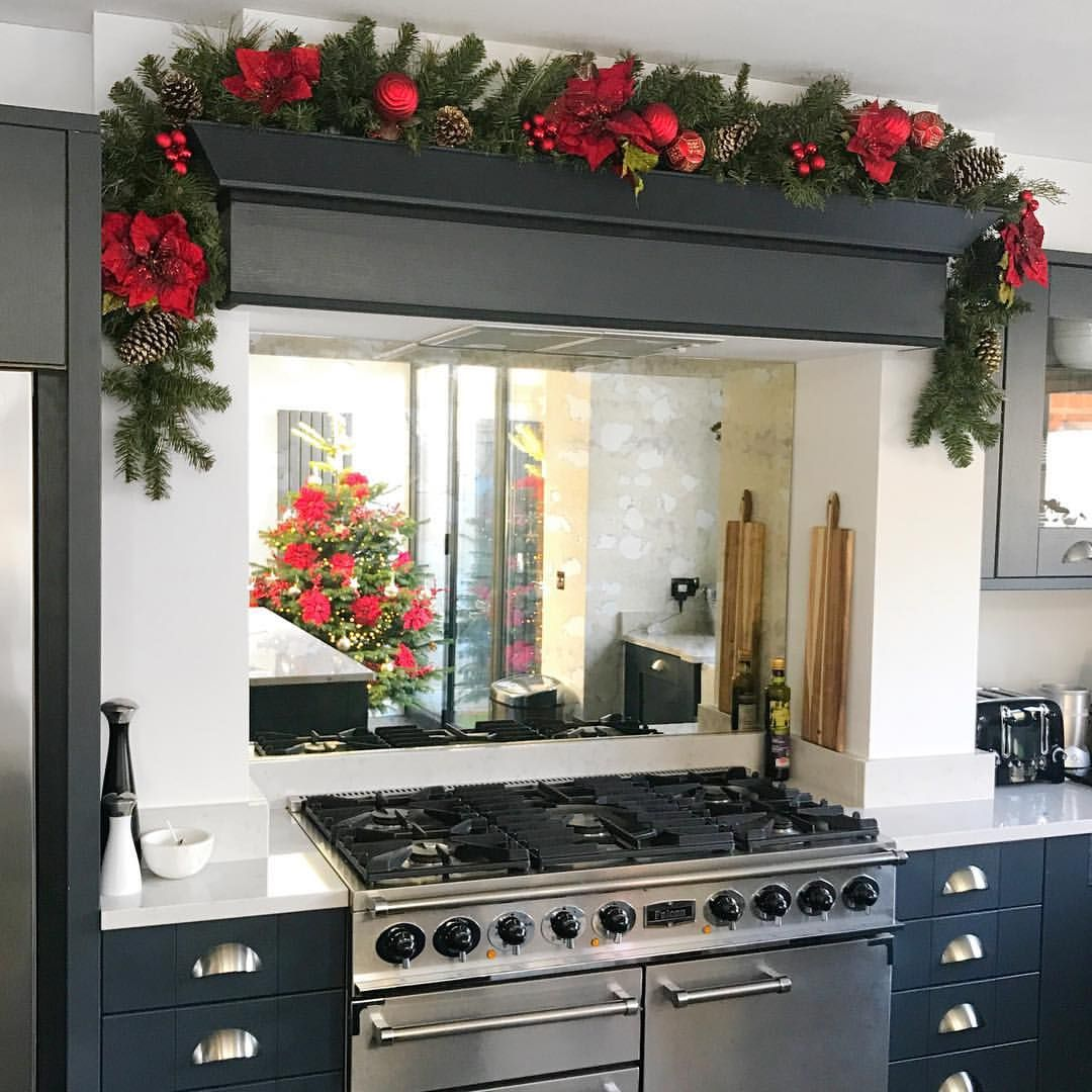 Christmas decorations garland red poinsettia baubles range