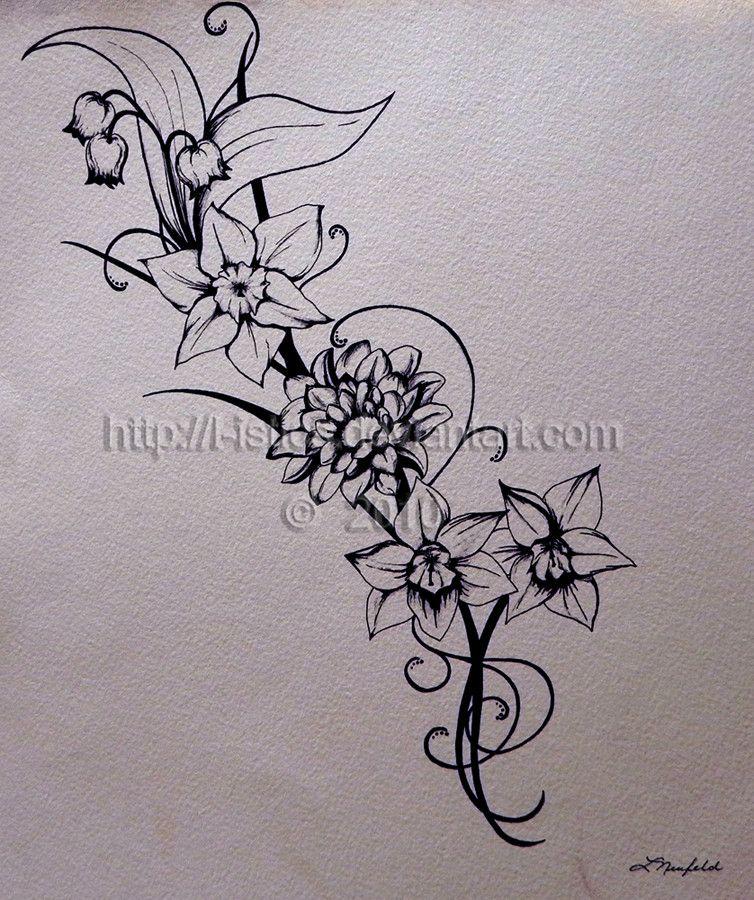 Tattoo By L Istics On Deviantart Narcissus Flower Tattoos Narcissus Tattoo Birth Flower Tattoos