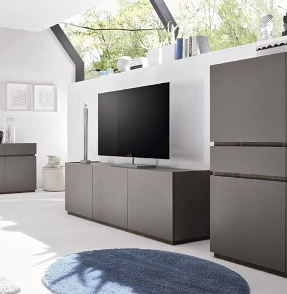 Porta TV moderno 3 ante Grigio opaco art 2864 Porta tv
