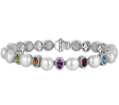 Judith Ripka Sterling Cultured Pearl & Multi-Gem  Bracelet