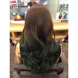 brown to green ombre - Google Search | Green hair ombre ...