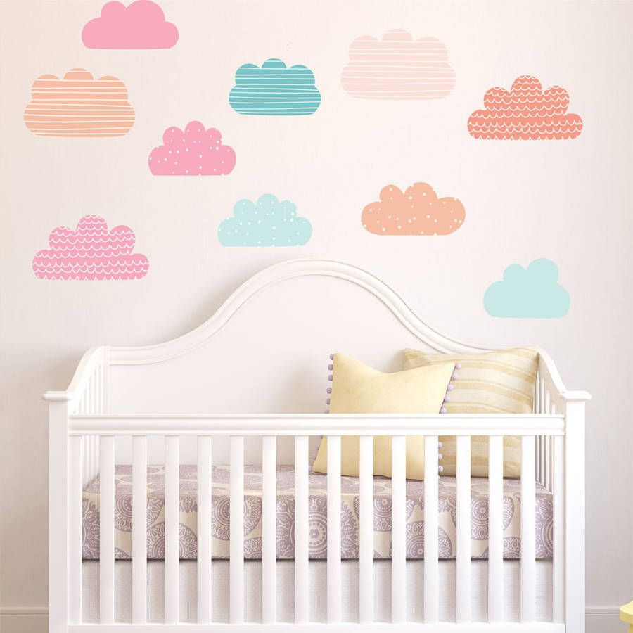 Pastel Clouds Wall Stickers Wall Sticker Walls And Nursery - Nursery wall decals clouds