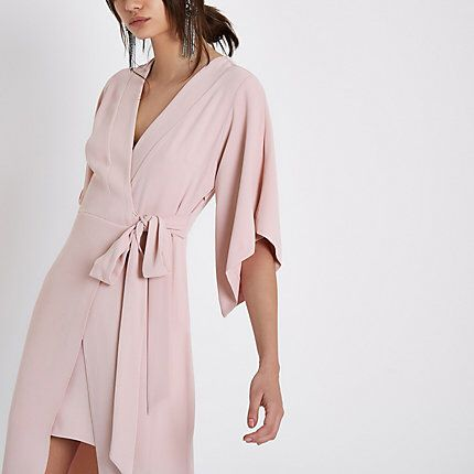 1bf28d0ee15 Checkout this Light pink wrap front kimono midi dress from River Island
