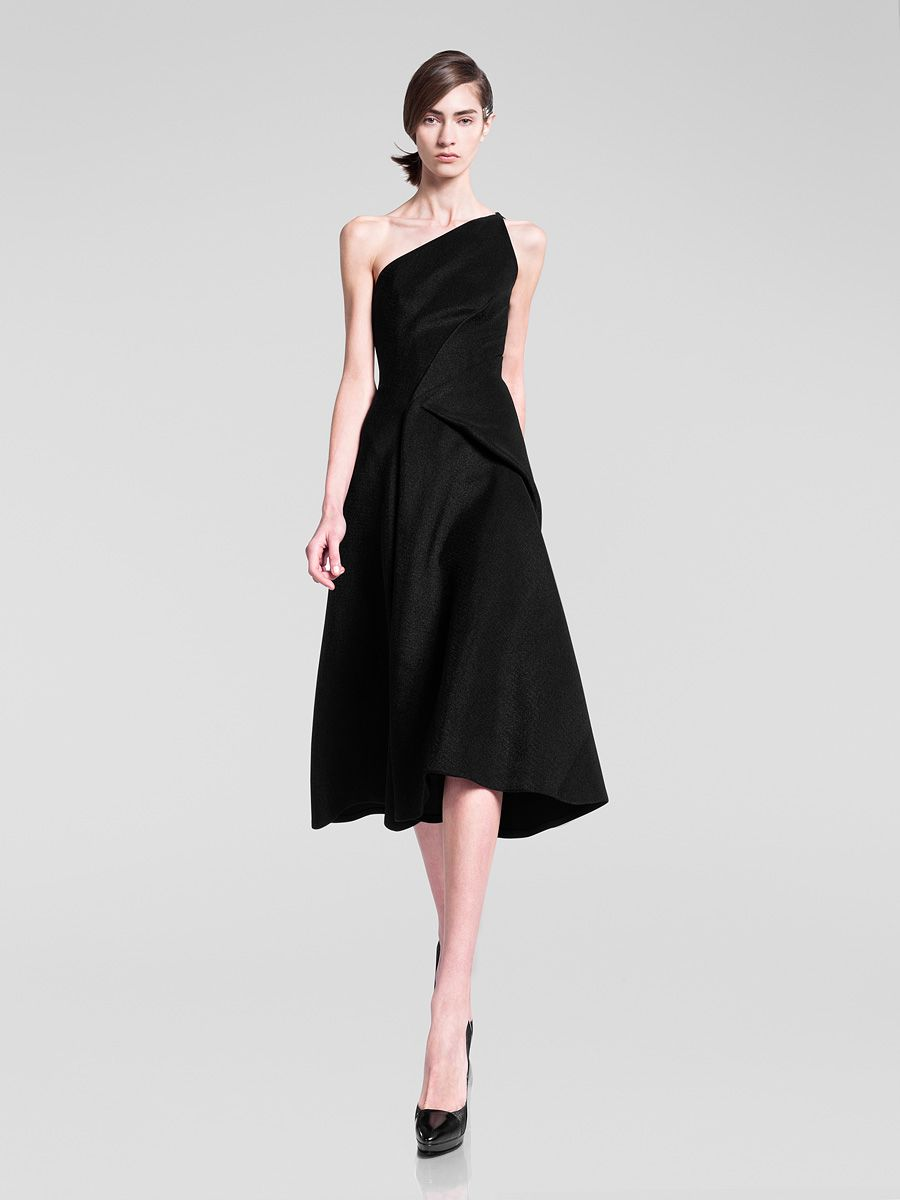 dkny black oneshoulder dress