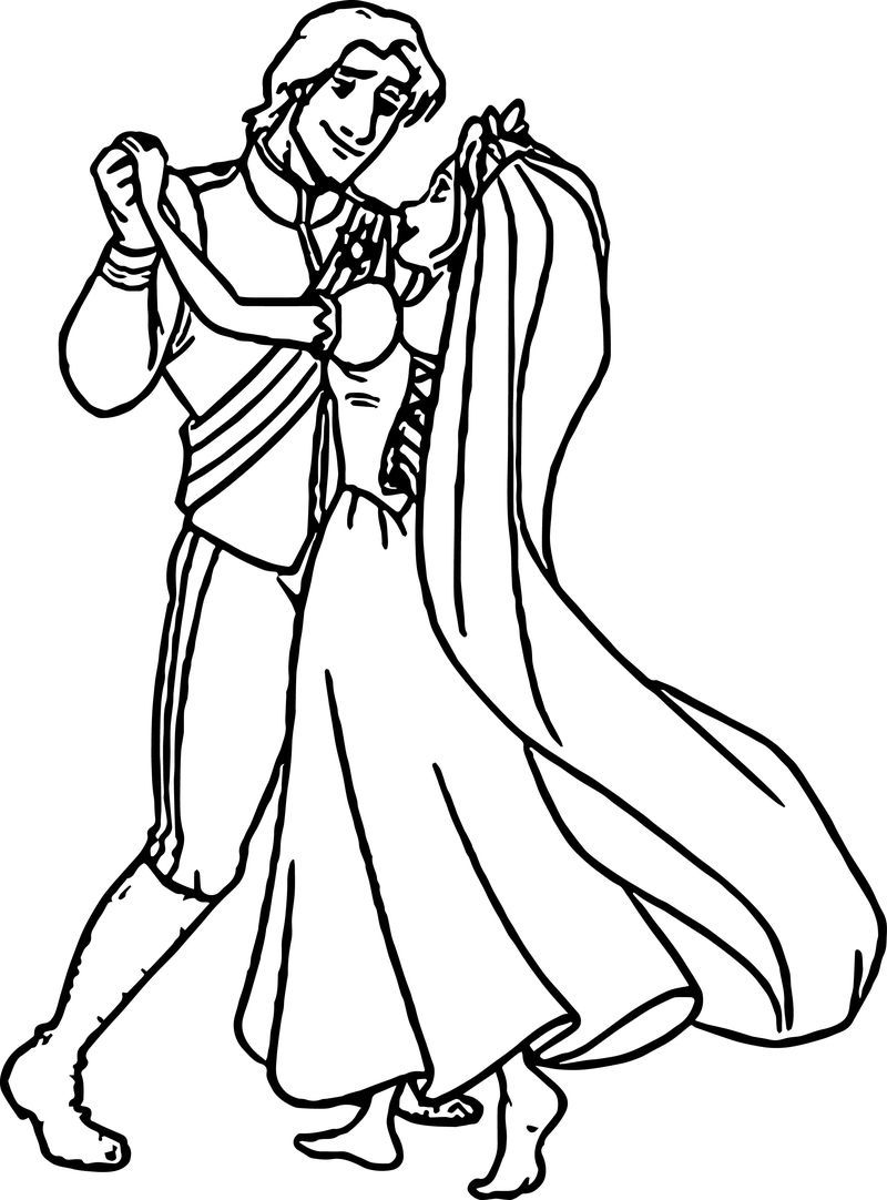 Rapunzel And Flynn Wedding Dance Coloring Page. Also see