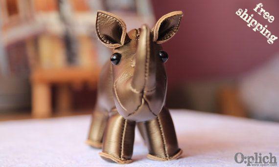 Baby Rhino Sculpture Rhinoceros Statue by OplichLeatherGoods, $95.00