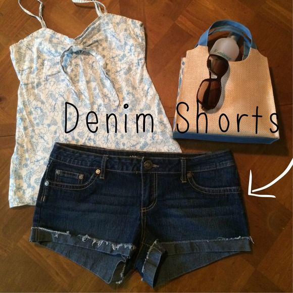 """SALE{YMI} Denim Shorts Worn only a few times, perfect like new condition. Adorable YMI denim shorts with the rolled up bottoms and some distressing for style. They have cute flap button pockets in the back. Measurements shown in the last photo. 16"""" across the waist (32"""") and a 2"""" inseam. There is no size tag.  ⚡️ No trades  I give discounts on all bundles  I ship the same or next day  All of my items are authentic  Keep in mind Poshmark takes 20%  Thank you so much for stopping by! YMI…"""