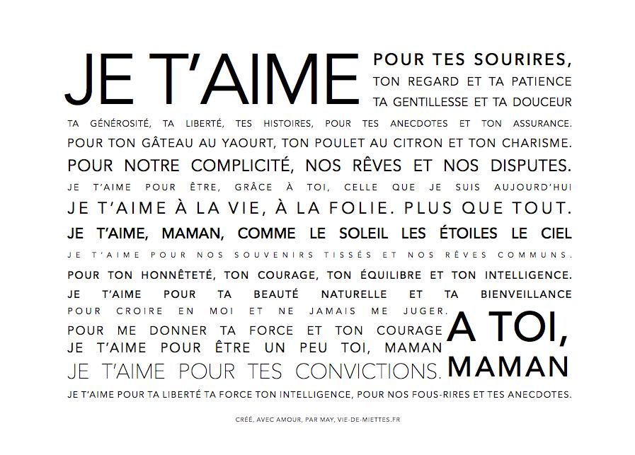 Affichecarte Fête Des Mères à Imprimer Texte Pour Maman