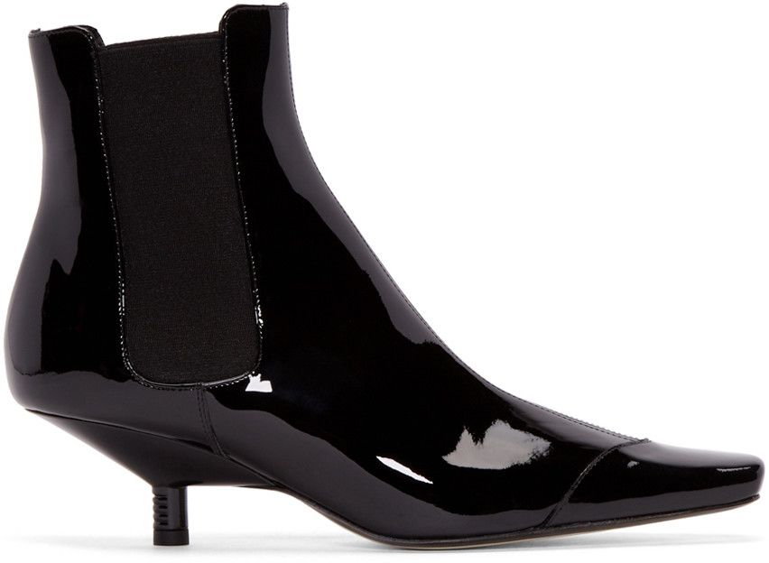 Ankle High Patent Leather Kitten Heel Chelsea Boots Square Toe