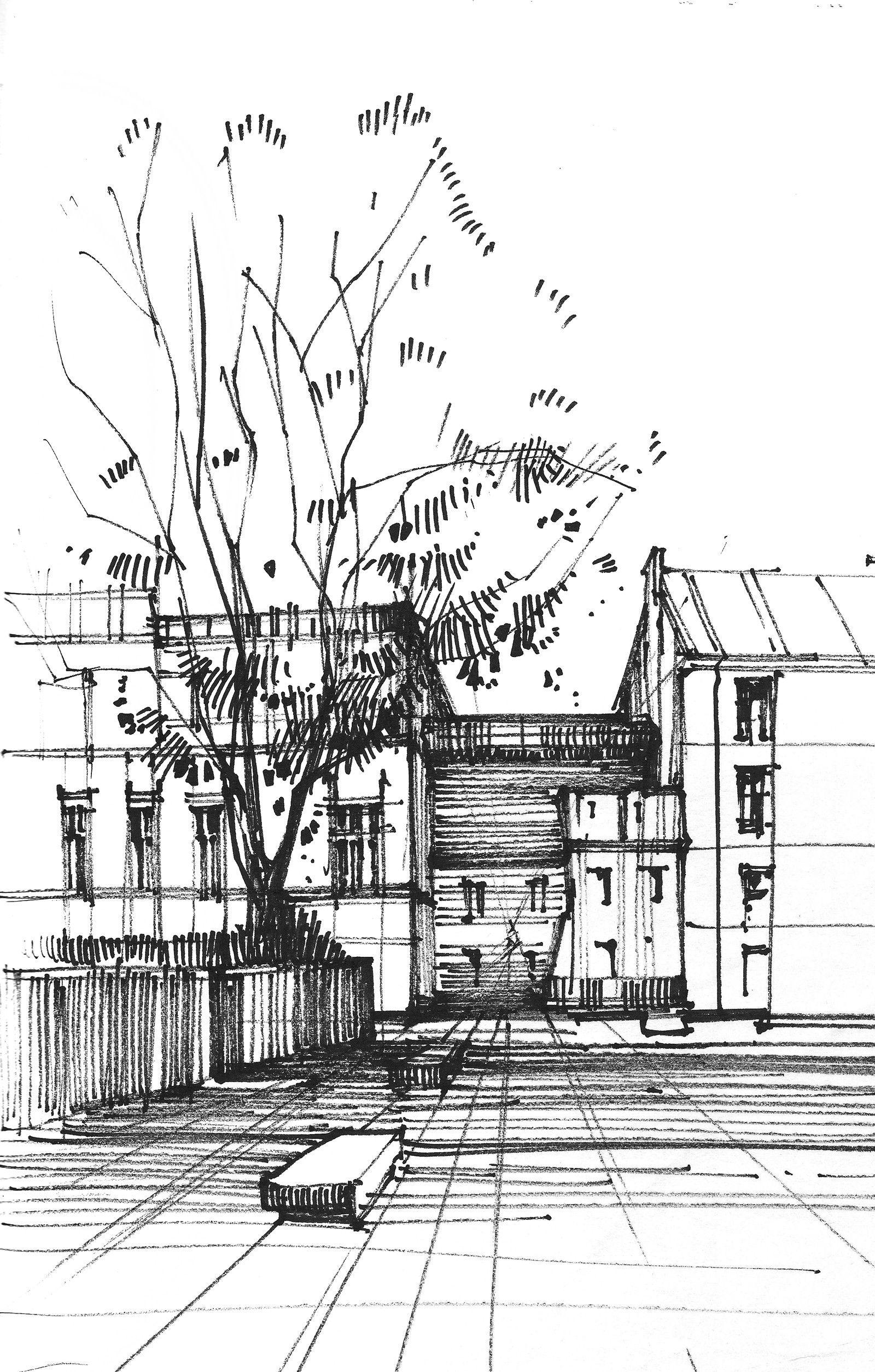 Architecture sketches, Barbara Gołębiewska | Architecture sketch,  Architecture drawing, Sketches