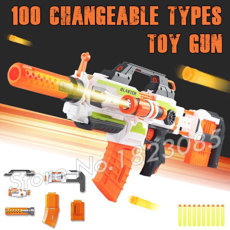 100 Changeable Combination Electric Gun Soft Bullet Plastic Toys