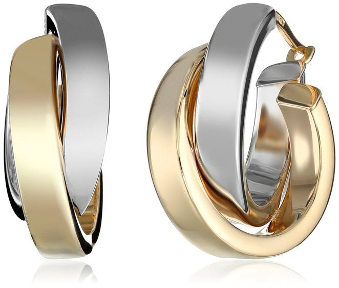 Gold 14k White And Yellow Two Tone Satin Polished Crossover Hoop Earrings
