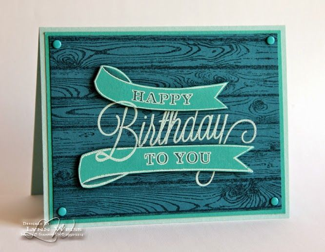 LW Designs: Simple Monochromatic Birthday using Another Great Year and the Hardwood background from Stampin' Up!