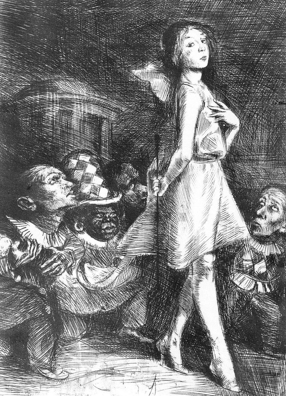 "[""The Infante and her Dwarfs"", Bruno Schulz, 1920-22, cliché-verre, 18 x 13 cm, Museum of Literature, Warsaw.]"