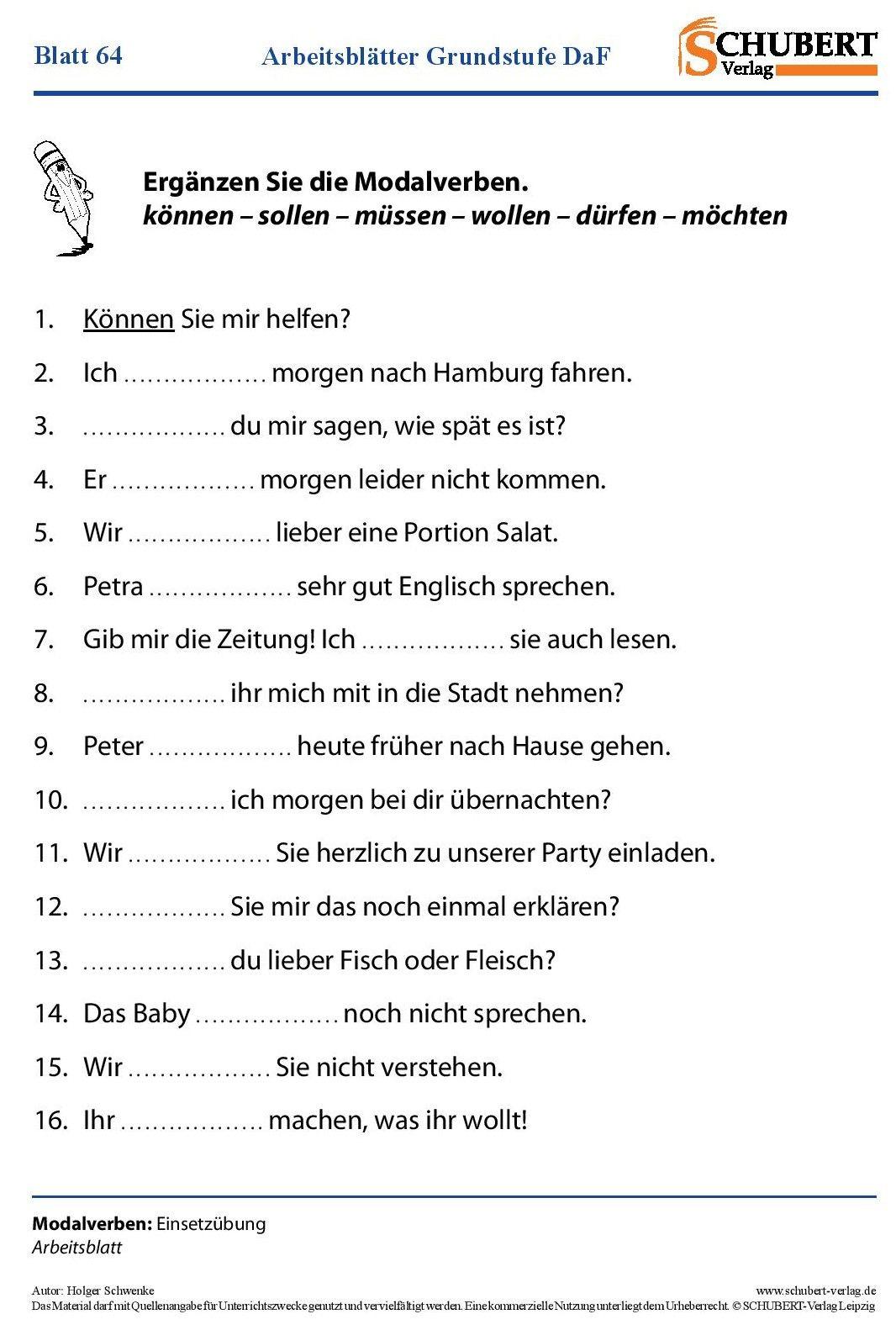 Modalverben | Niemiecki | Pinterest | Modalverben, Deutsch und ...