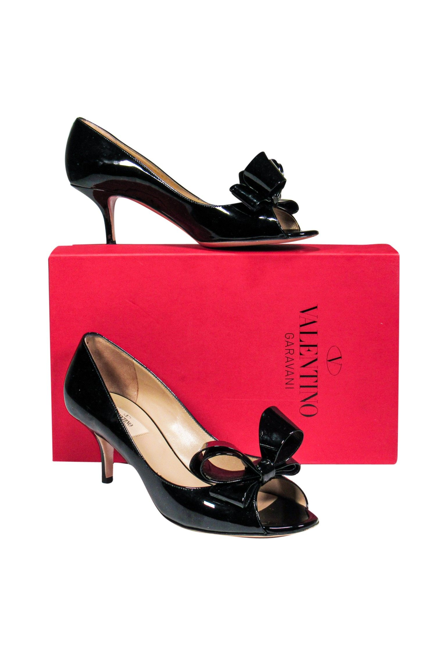 Valentino Black Patent Kitten Heels W Bow Sz 9 Current Boutique Affiliate